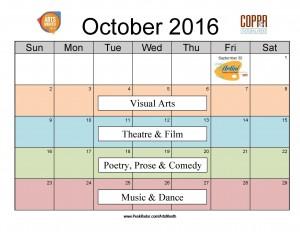 2016 Arts Month Calendar